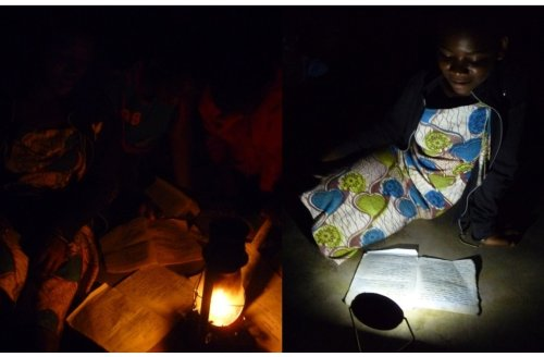 Children reading with a kerosene lamp (left) and a solar lamp (right)